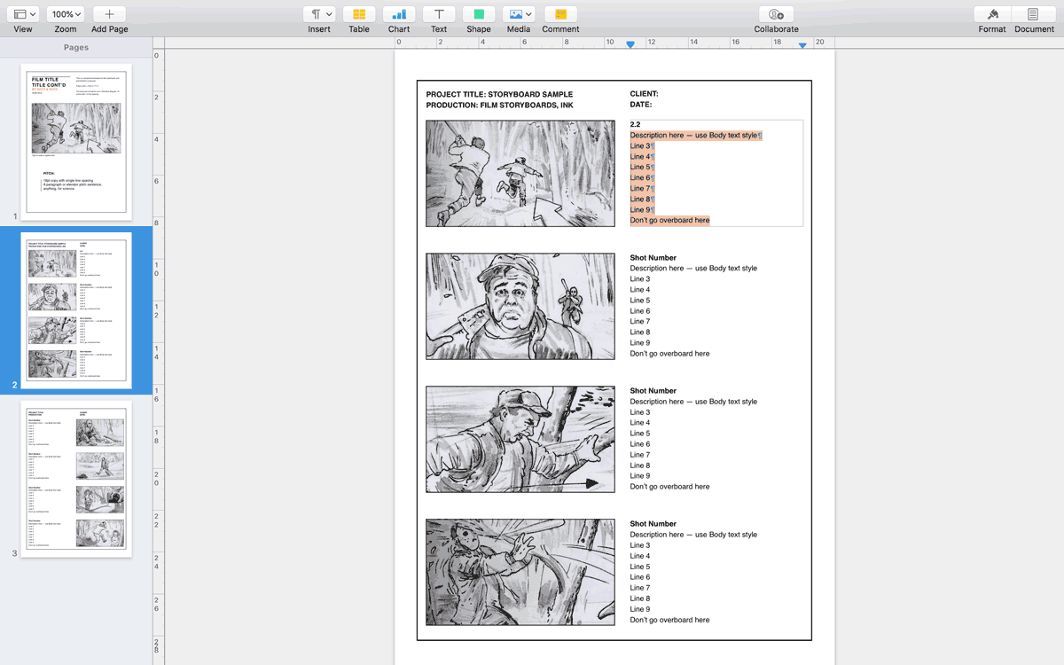 Apple Pages storyboard template for 16:9 aspect ratio