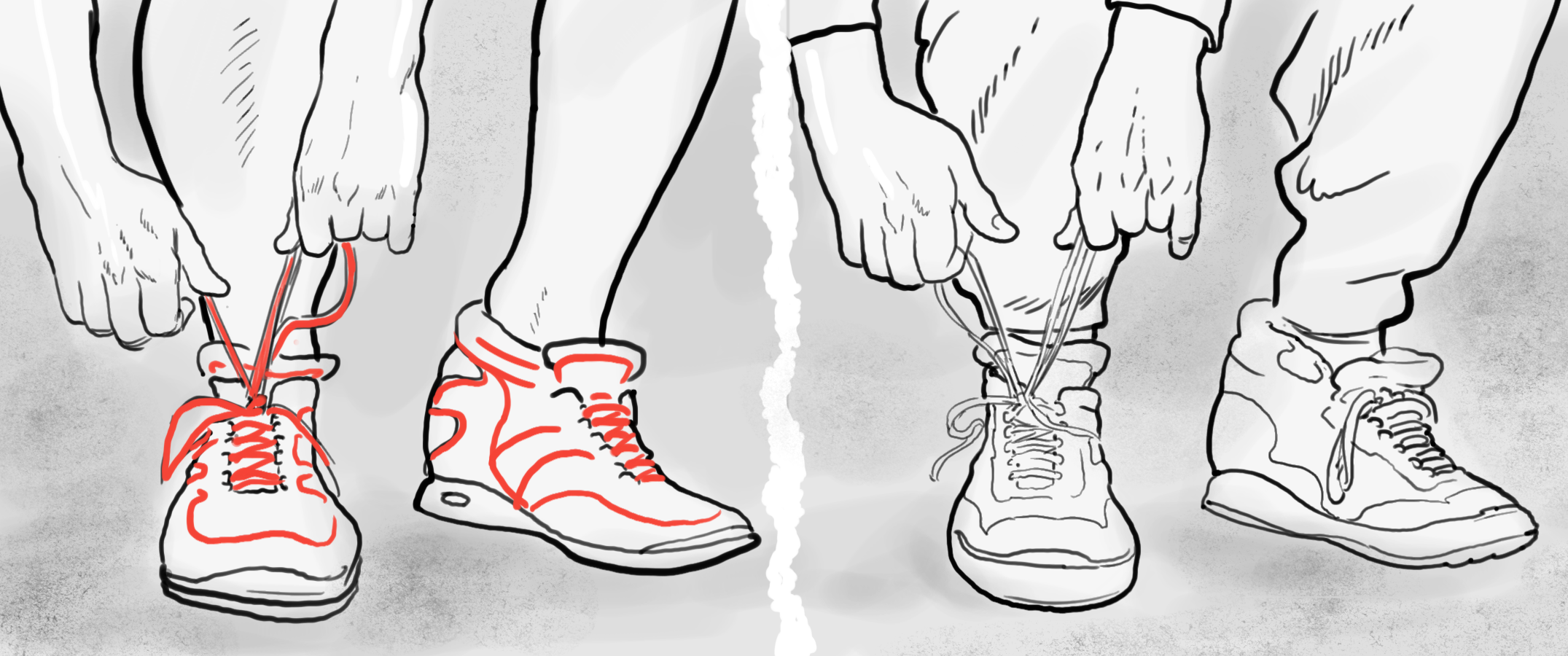 Storyboard frame, lace-ups